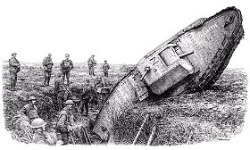 Dessin d'un char Mark V à Cambrai